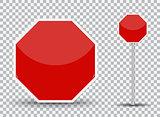 Red road sign on transparent background. Vector Illustration.
