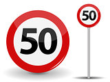 Round Red Road Sign Speed limit 50 kilometers per hour. Vector Illustration.