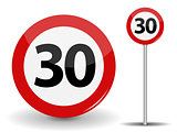 Round Red Road Sign Speed limit 30 kilometers per hour. Vector Illustration.