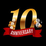 Golden 10 Years Anniversary Template with Red Ribbon Vector Illu