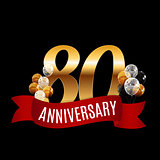 Golden 80 Years Anniversary Template with Red Ribbon Vector Illu