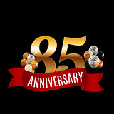 Golden 85 Years Anniversary Template with Red Ribbon Vector Illu