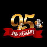 Golden 95 Years Anniversary Template with Red Ribbon Vector Illu