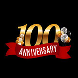 Golden 100 Years Anniversary Template with Red Ribbon Vector Ill