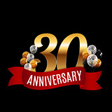 Golden 30 Years Anniversary Template with Red Ribbon Vector Illu