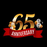Golden 65 Years Anniversary Template with Red Ribbon Vector Illu