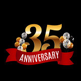 Golden 35 Years Anniversary Template with Red Ribbon Vector Illu