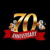 Golden 70 Years Anniversary Template with Red Ribbon Vector Illu