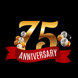 Golden 75 Years Anniversary Template with Red Ribbon Vector Illu