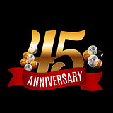 Golden 45 Years Anniversary Template with Red Ribbon Vector Illu