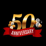 Golden 50 Years Anniversary Template with Red Ribbon Vector Illu