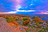 Amazing colorful sunset panorama of Pakostane archipelago