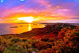 Amazing colorful sunset panorama of Pakostane archipelago