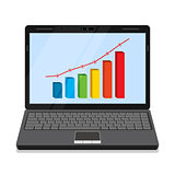 Monitor with business graph.