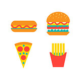 Set of fast food vector food