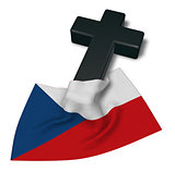 christian cross and flag of the Czech Republic - 3d rendering