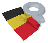 symbol for feminin and flag of belgium - 3d rendering