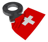 female symbol and flag of switzerland - 3d rendering