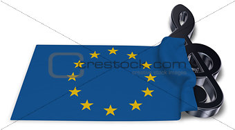 clef symbol and flag of the european union - 3d rendering