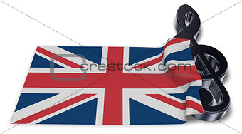 clef symbol and flag of the united kingdom - 3d rendering