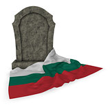 gravestone and flag of bulgaria - 3d rendering