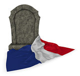 gravestone and flag of france - 3d rendering