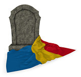gravestone and flag of romania - 3d rendering