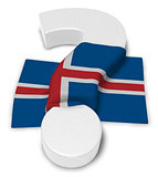 question mark and flag of iceland - 3d illustration