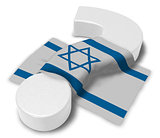 question mark and flag of israel - 3d illustration