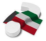 question mark and flag of kuwait - 3d rendering