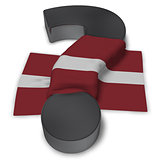 question mark and flag of latvia - 3d illustration