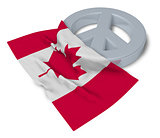peace symbol and flag of canada - 3d rendering