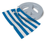 peace symbol and flag of greece - 3d rendering