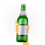 Large beer bottle in hand