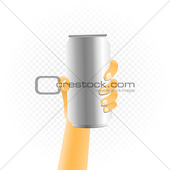 Small can drink in hand