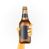 Small beer bottle in hand