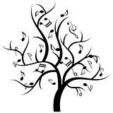 Musical tree with music notes