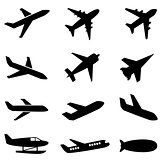 Passenger planes and other airplane icon