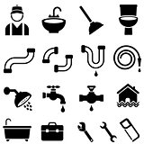 Kitchen, bathroom and house plumbing icons