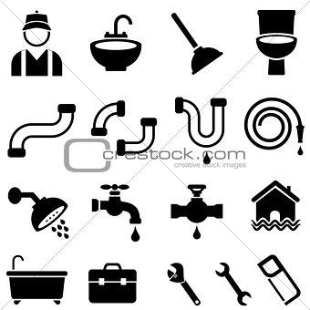 Kitchen, bathroom and house plumbing icons