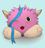 Cartoon pink creature with blue ribbon