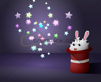 White cartoon rabbit sits in a magician's hat