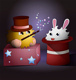 A cartoon magician and a rabbit inside magic hat