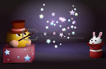 cartoon magician and a rabbit inside a magic hat