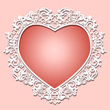 frame heart-shaped paper for picture or photo