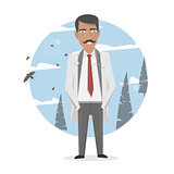 Vector medicine illustration. Medical staff. Doctor in a white lab coat. The character isolated.