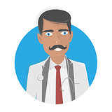 Doctor vector illustration. On a white background. Happy physician.
