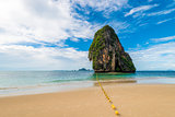 Lonely rock in a picturesque tropical place in Thailand, sea vie