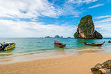 Fast small Thai boats at Phra Nang beach in Thailand