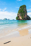 A vertical scenic view of the mountain in the Andaman Sea in Tha